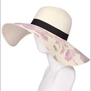 Floral Print Large Brim Beach Sun Straw Hat